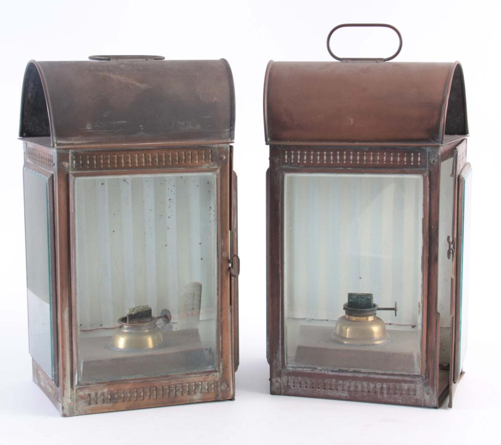 A PAIR OF 19TH CENTURY COPPER WALL HANGING OIL LAN