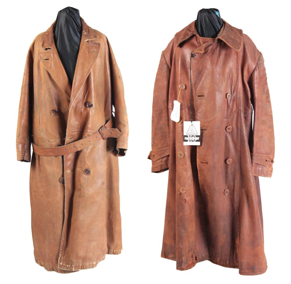 TWO VINTAGE TAN LEATHER MOTORING LONG COATS