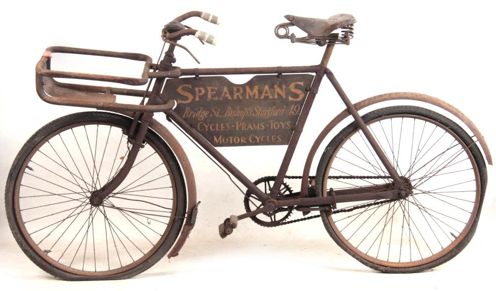 A VINTAGE DELIVERY BICYCLE advertising Spearman's,