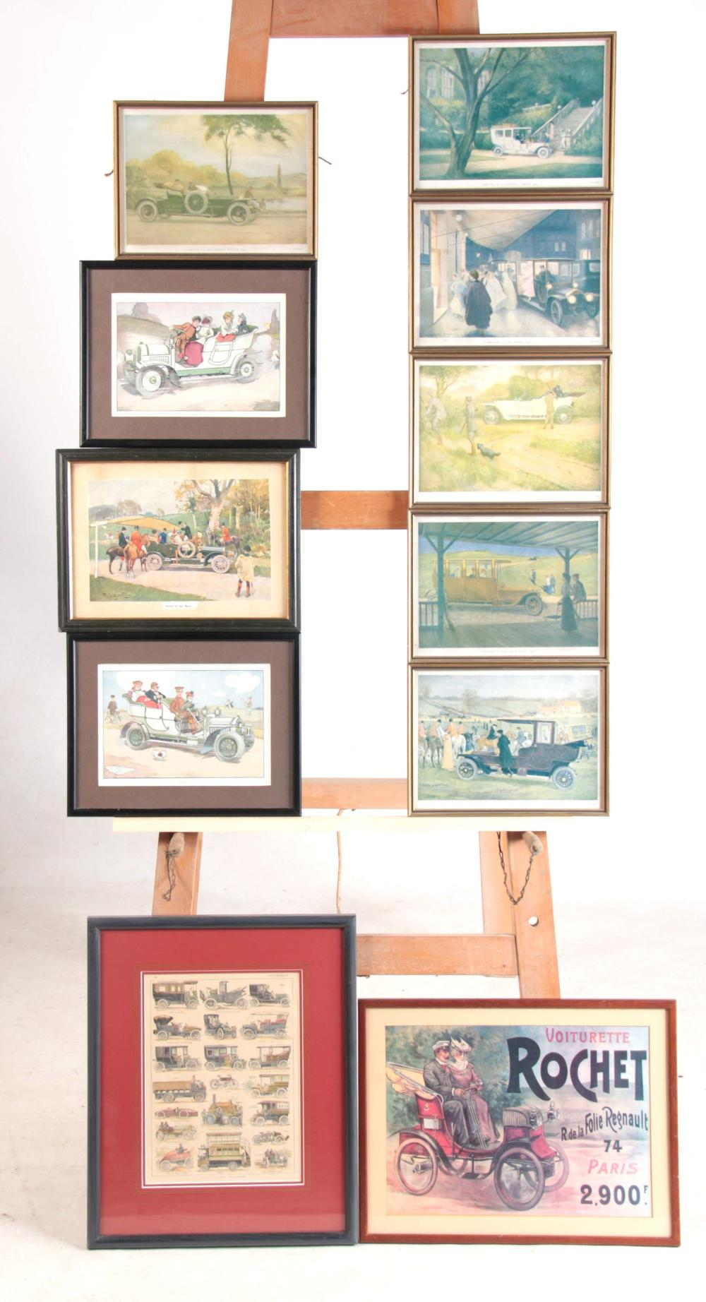 A SELECTION OF FIVE VINTAGE CAR PRINTS in glazed p