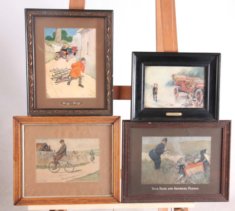 FOUR VINTAGE PRINTS OF VINTAGE CARS AND BICYCLES m