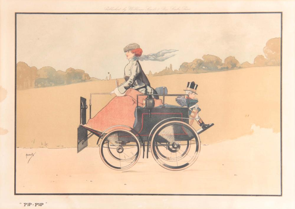AN EARLY 20TH CENTURY MOTORING PRINT, of a lady dr