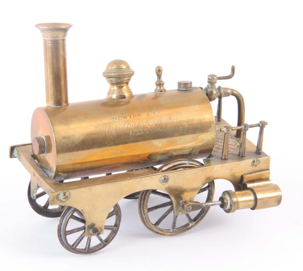 A BRASS MODEL OF A STEAM ENGINE having been made f