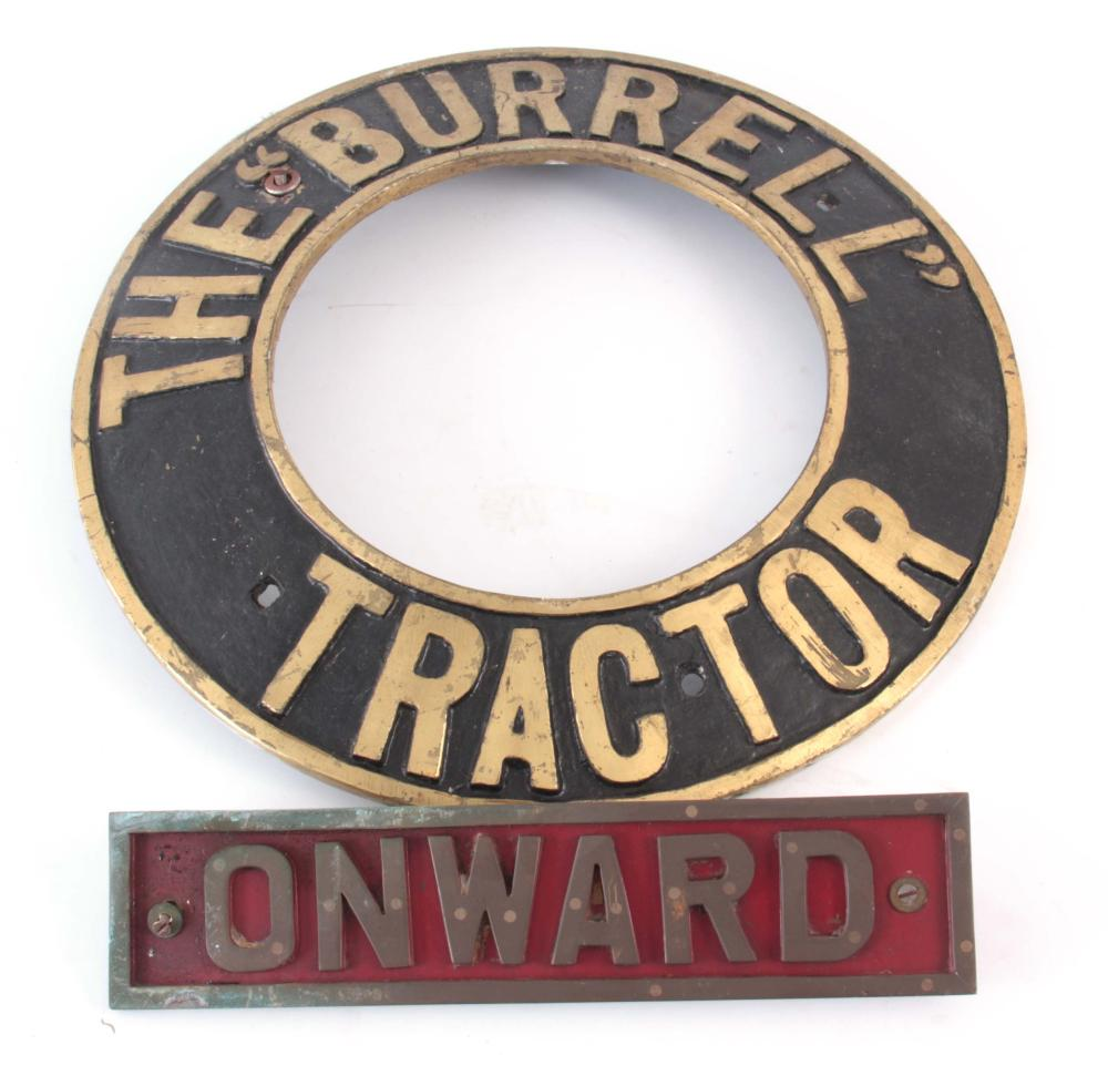 AN EARLY 20th CENTURY BRASS STEAM TRACTOR NAME PLA