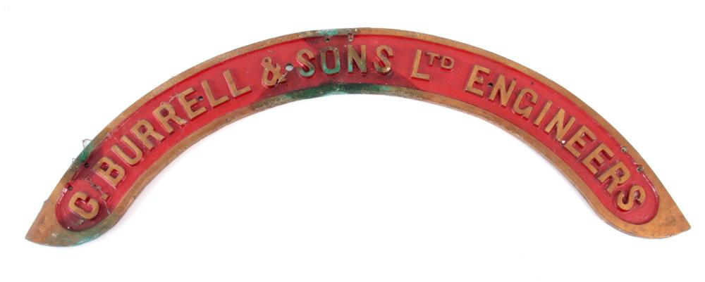 AN EARLY 20th CENTURY BRASS STEAM TRACTORS NAME PL