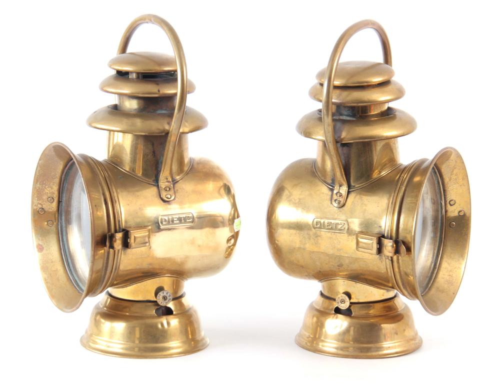 A PAIR OF BRASS DIETZ-ORIENT OIL SIDE LAMPS with t