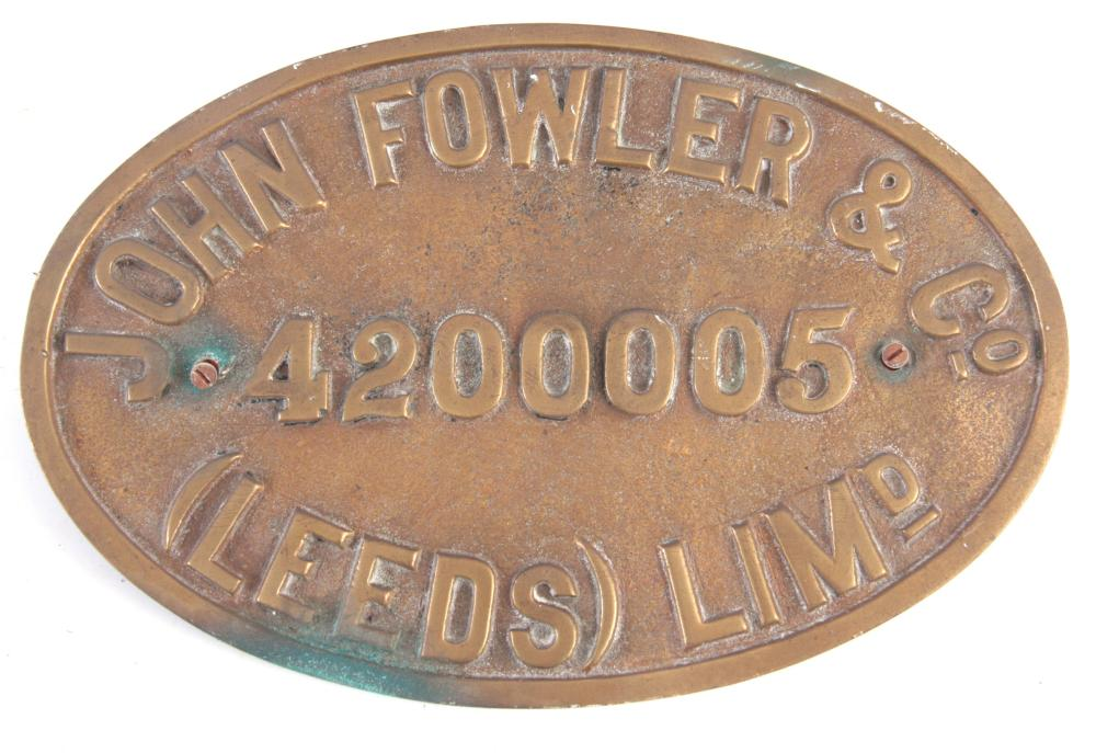AN EARLY 20th CENTURY BRASS LOCOMOTIVE BUILDERS PL