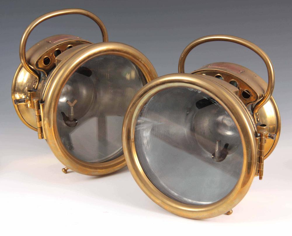 A LARGE PAIR OF 'SOLAR' PROJECTOR CAR HEADLAMPS BY