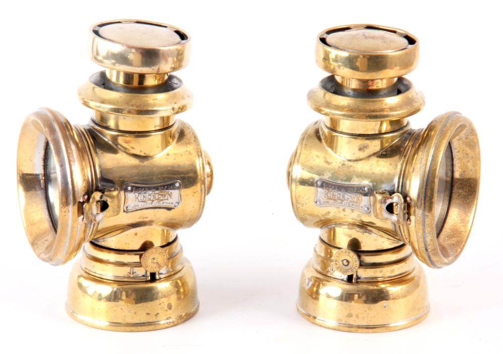A PAIR OF BRASS LUCAS 141 'KING OF THE ROAD' OIL S