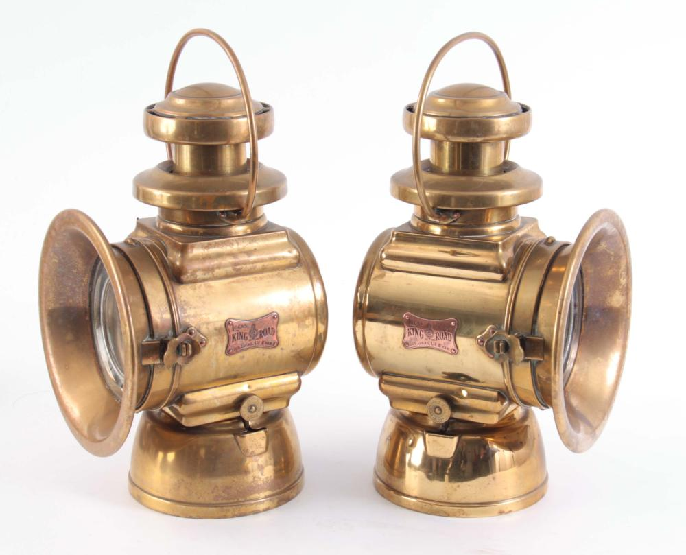 A LARGE PAIR OF BRASS LUCAS 664 'KING OF THE ROAD'