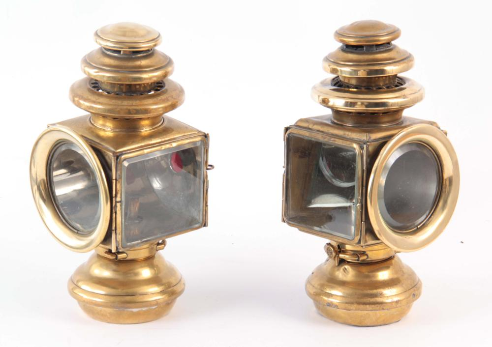 A LARGE PAIR OF BRASS SQUARE SIDE LAMPS 33cm high