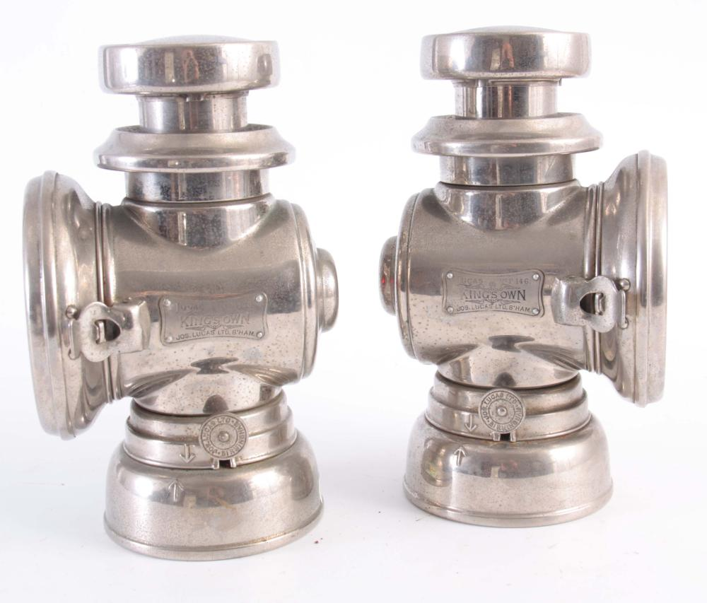 A PAIR OF NICKLE PLATED BRASS LUCAS 146 'KING'S OW