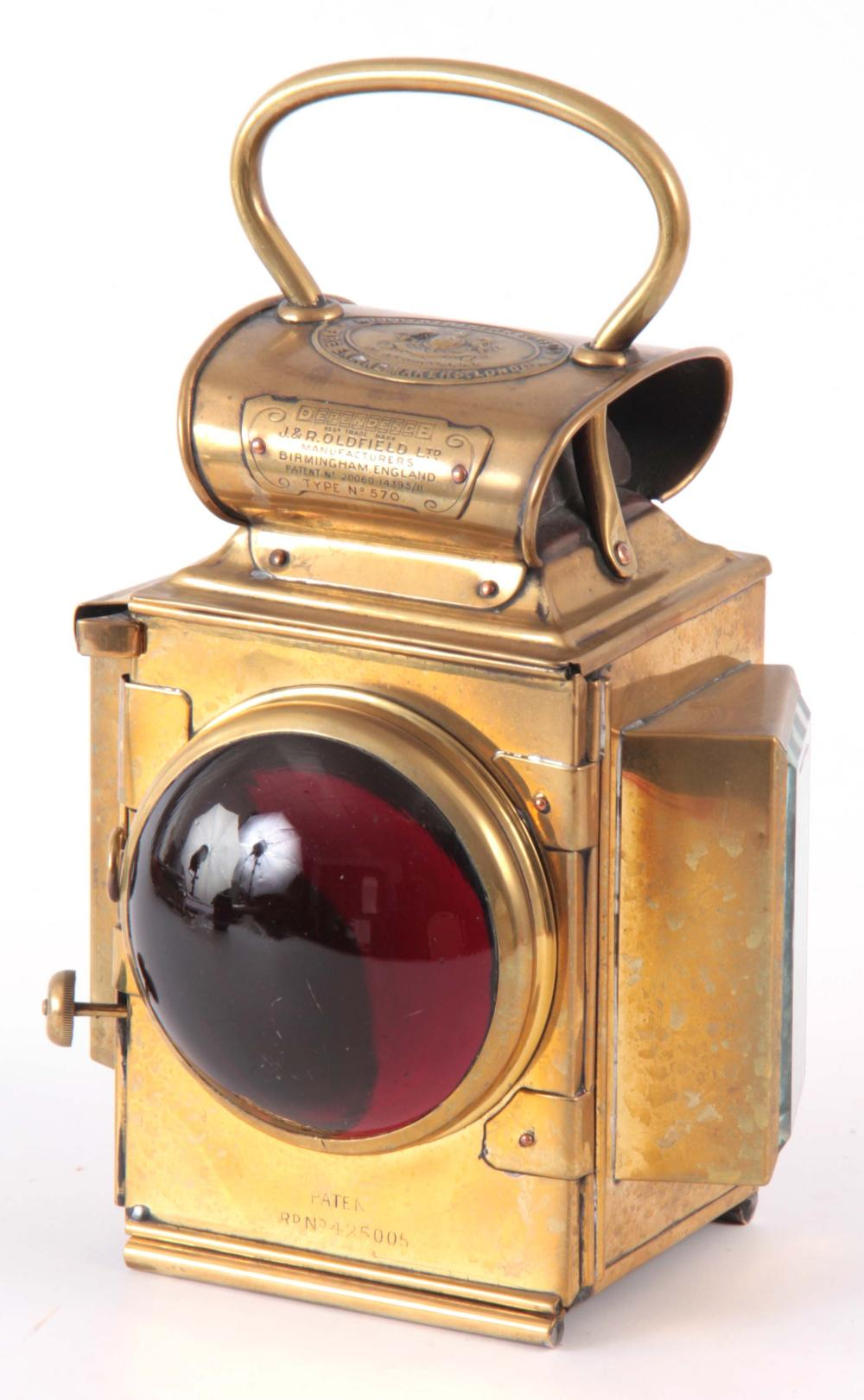 A BRASS MERRYWEATHER & SON FIRE ENGINE REAR LAMP w