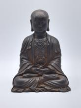 Chinese Ming Dynasty Cast Iron Monk Statue