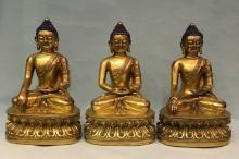 Three Chinese Gilt Bronze Statues