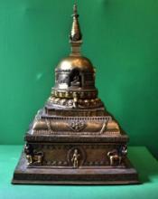 Tibetan Gilt Buddha Tower