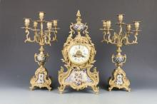 French Gilt Bronze Clock and Candelabra Set