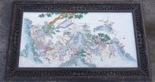 Chinese Porcelain Plaque with Hardwood Frame