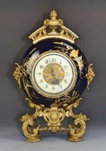 French Cobalt Blue Porcelain Clock