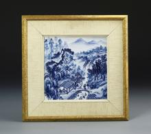 Chinese Framed Blue and White Tile