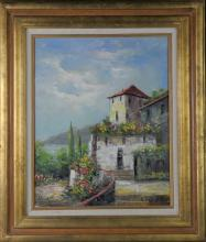 Oil on Canvas of a Waterside Cottage