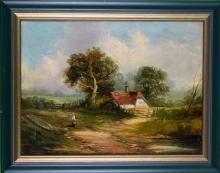J. Davis, Oil on Canvas Painting