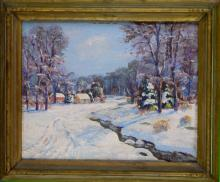 Oil on Canvas Painting of a Winter Scene