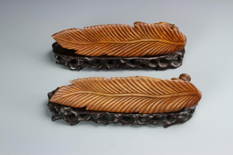 Pair of chinese boxwood carvings beauties