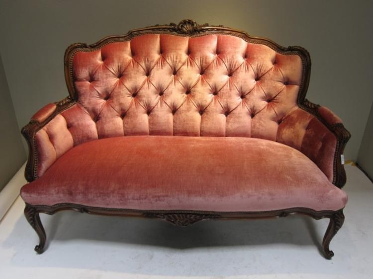 Vintage French Pink Velvet Sofa