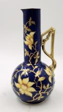 Carlsbad Austria Cobalt Blue Gilded Vase