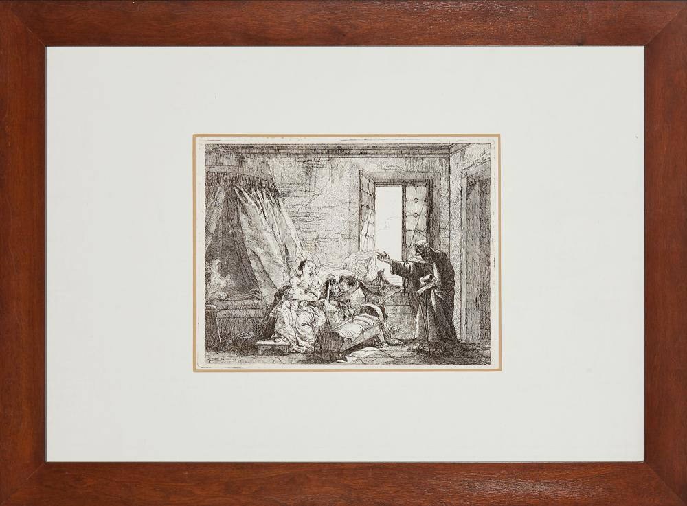 Giandomenico Tiepolo Joseph announcing to Mary his decision to leave for Egypt, from the series Idee pittoresche per la fuga in Egitto Etching, third state of three, 185x240 mm. (to the plate) Framed (slight defects) Literature D. Succi, D...