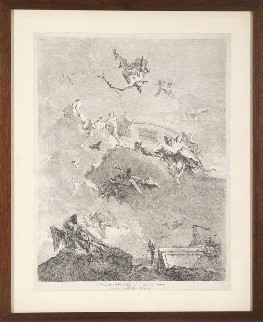 Lorenzo Tiepolo The triumph of Venus, after Giovanni Battista Tiepolo Etching, third state of three, 670x510 mm. Framed (defects)...