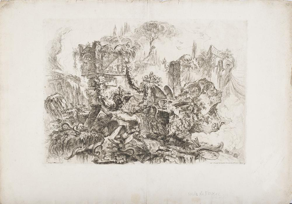 """Giovanni Battista Piranesi The tomb of Nero, from the series Grotteschi Etching, coeval edition, on paper with watermark """"Lily in double circle and letter B"""", 386x544 mm. Signed in the plate at lower left """"Piranesi inventò ed incise"""" (defec..."""