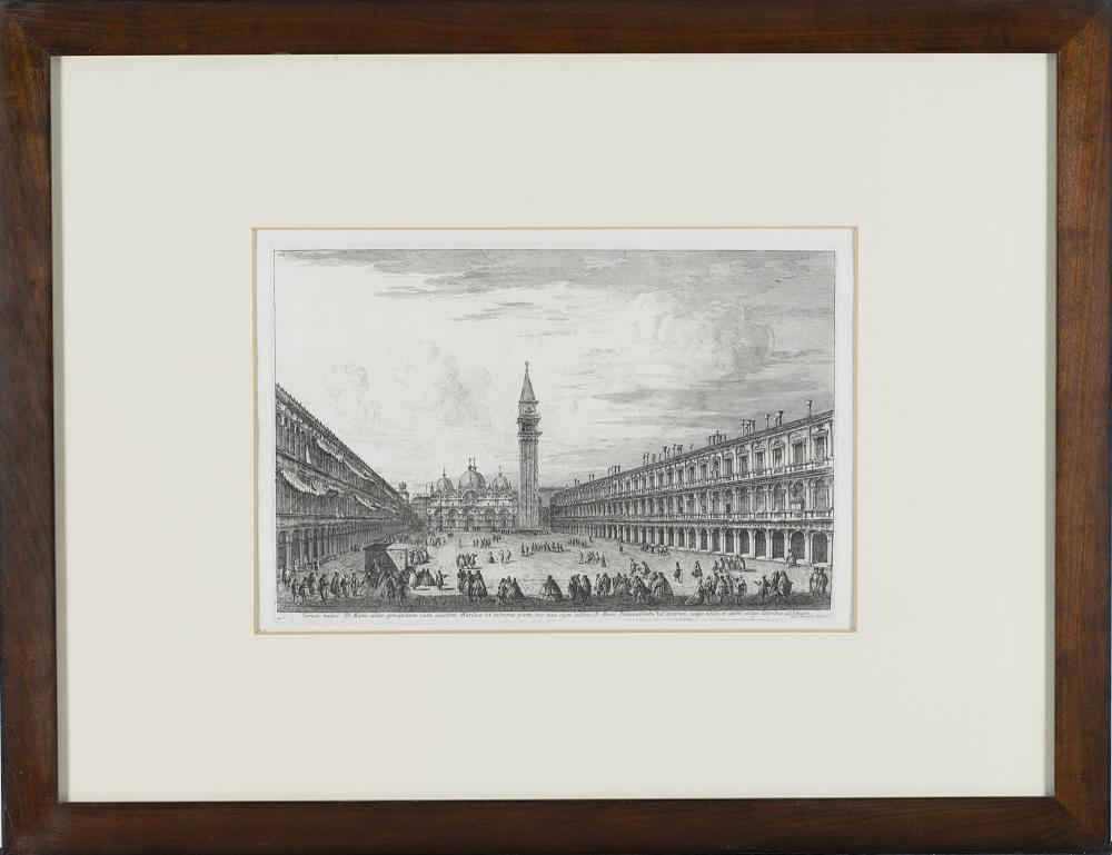 Michele Marieschi View of Piazza San Marco towards the Basilica, from the series Le prospettive di Venezia Etching, first state of four, 295x437 mm. (to the plate) Framed (slight defects) Literature D. Succi, Da Carlevarijs ai Tiepolo. Inc...