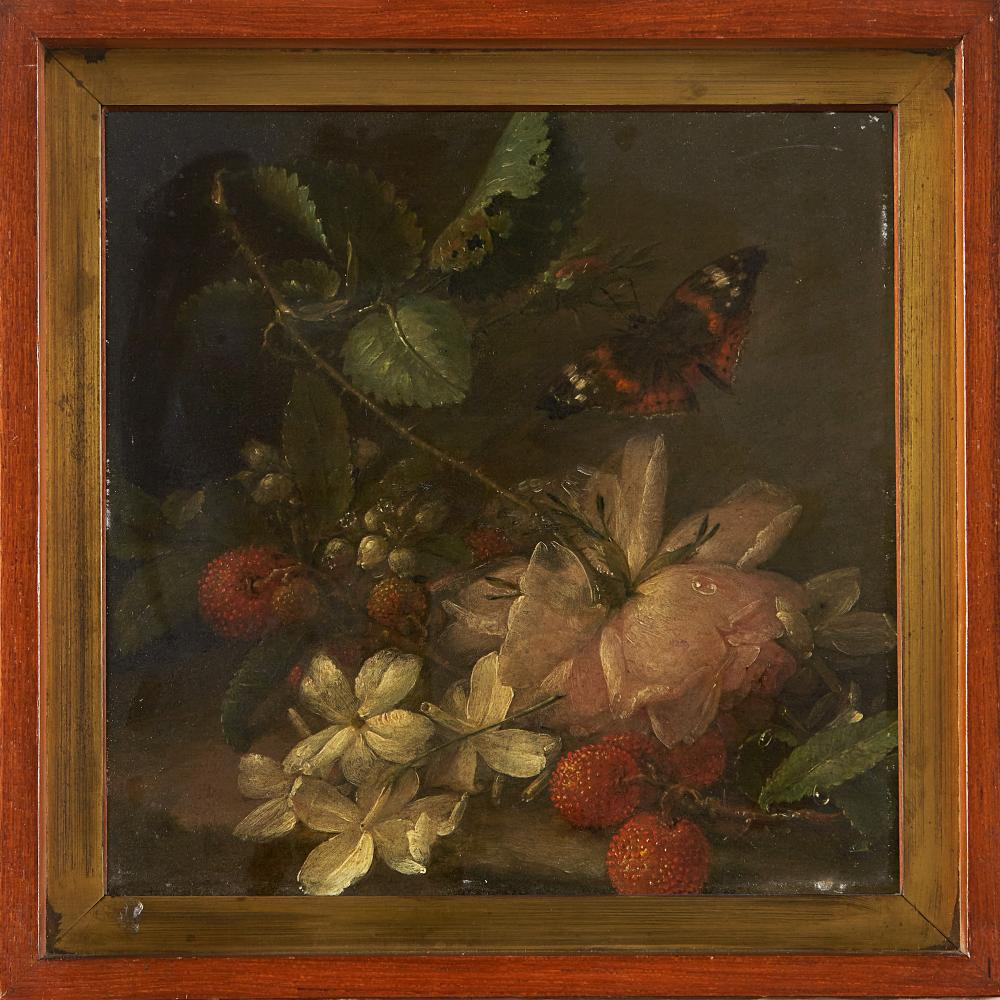 19th century school Flowers and butterfly Oil on copper, 21x21 cm. Framed (slight defects)...