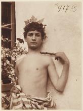 Male nude posing with a dog © 1900 Reprint Wilhelm von Gloeden