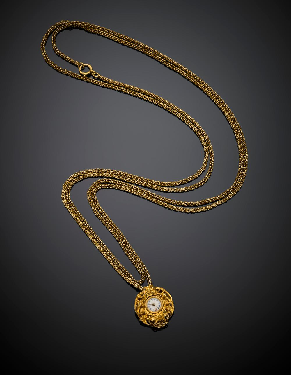 Yellow gold double chain holding a baroque pendant watch, g