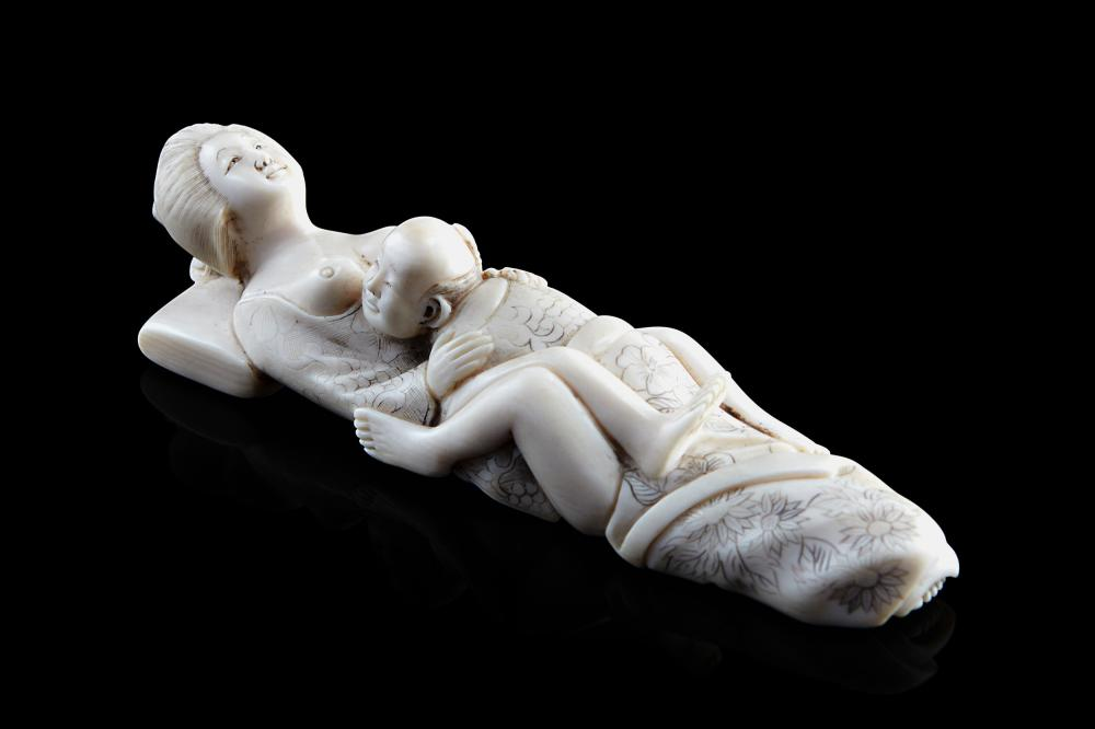 An erotic subject okimono Japan, Meiji period (1868-1912) (l. 10.2 cm.) This lot may be subject to Import/Export restrictions due to CITES regulations in some extra UE countries...