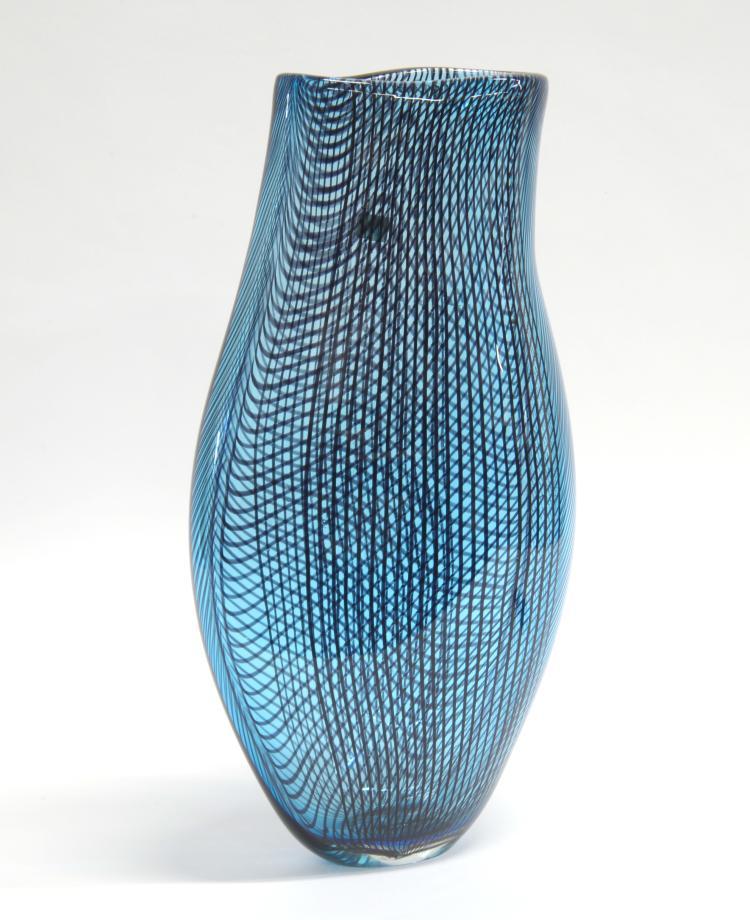 Afro Celotto Venezia 1963large Light Blue Blown Glass Vase