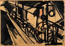 """Emilio Vedova """"Untitled"""" 1950 ink and watercolor on paper laid down on canvas cm 24.8x34.8 Signed lower right This work is accompanied by certificate issued by the Fondazione Emilio e Annabianca Vedova, Venice, with n. FV295..."""