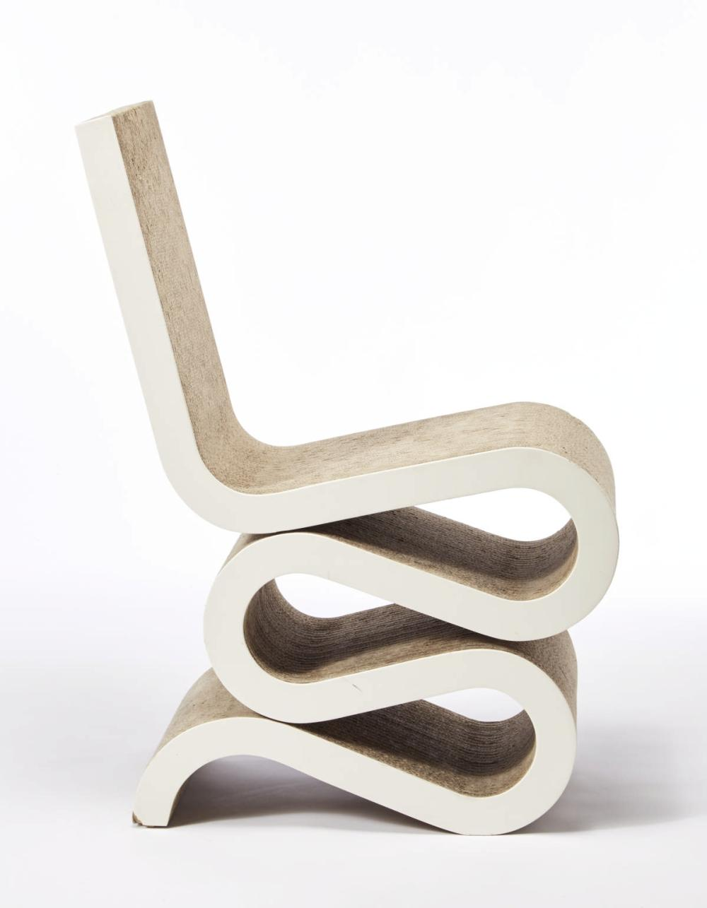 """Frank Gehry Chaise Carton frank gehry (toronto 1929)chair model """"wiggle side chair"""". p"""