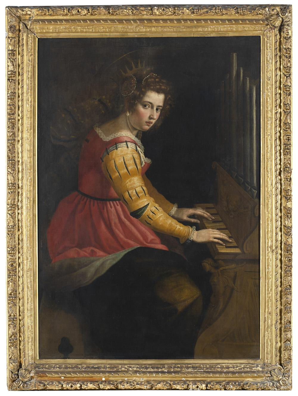 Tuscan school, 17th century Saint Cecilia playing the spinet Oil on canvas, 140x100 cm. Framed (defects and restorations) The painting is present in the Federico Zeri Photo Archive, cataloged as a work of an anonymous Florentine painter ...