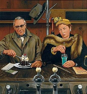 Stevan Dohanos 1907-1994 Magazine cover: Couple enjoying an after- theatre dessert, to varying degrees. Saturday Evening Post January 30 1954; oil on board, 33.5 x 30.5in, signed ll