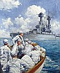 Anton Otto Fischer 1882-1962 Dustjacket illustration: Sailors in launch approaching battleship. , Author: Robb White Midshipman Lee 1938; oil on canvas, 26 x 21.75in, signed & dated lr, Anton Otto Fischer, Click for value