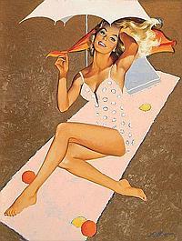 Freeman Elliott Illustration; Woman in bikini on