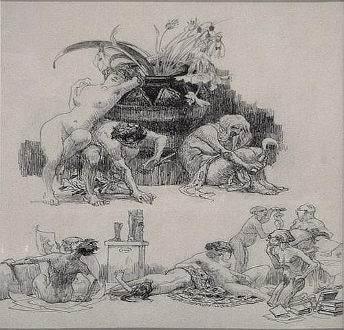 Heinrich Kley (1863-1945)Two drawings on one