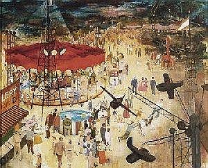 David Berger Painting: Carnival midway scene. ca. 1945; oil on board, 19 x 22.75in., signed ur