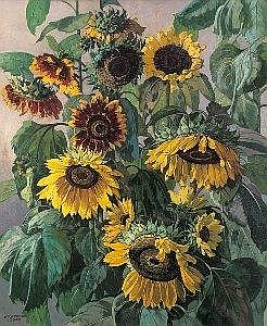 Josef Stoitzner (Wien 1884 - 1951 Bramberg im Pinzgau) Sonnenblumen Ol auf Leinwand 90 x 75 cm Signiert