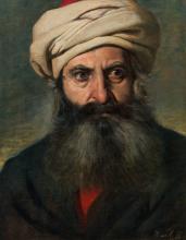 Wilhelm Löwith; Portrait of an Oriental man with turban