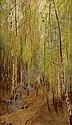 Emil Jakob Schindler (Wien 1842-1892 Westerland) Birkenwald ol auf Holz 36,2 x 21 cm um 1890 Signiert links unten: Schindler Ruckseitig altes, Emil Jacob Schindler, Click for value